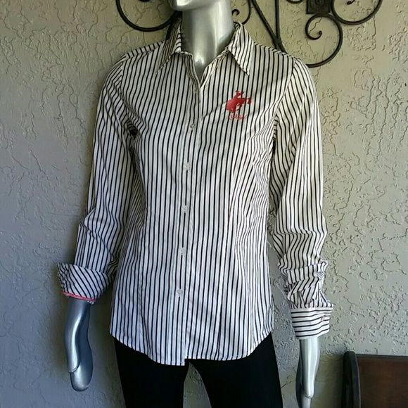 Country Western Cruel Girl Pinstriped Blouse Brand Cruel Girl from Sheplers Size Small  100% Cotton  Like new condition  Classic style collared, cuffed Brown and White Pinstriped Button Front Blouse with pink detailing embrodery breast and Cruel girl piping inside. Even button have logo.  Originally  $42.00 Get your Cowgirl on! Bundles available with discounts Cruel Girl Tops Button Down Shirts