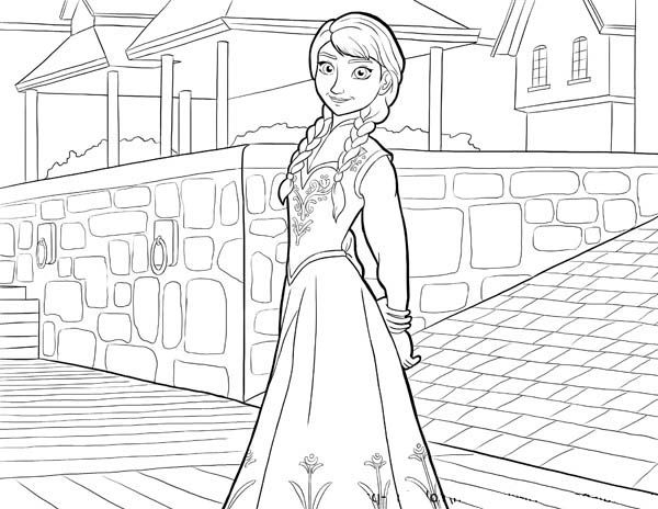 Frozen Beautiful Anna From Disney Movie Coloring Page PageFull Size Image