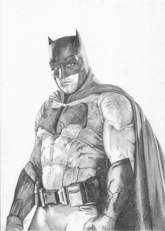 Batman pencil drawing the justice league fan art print by
