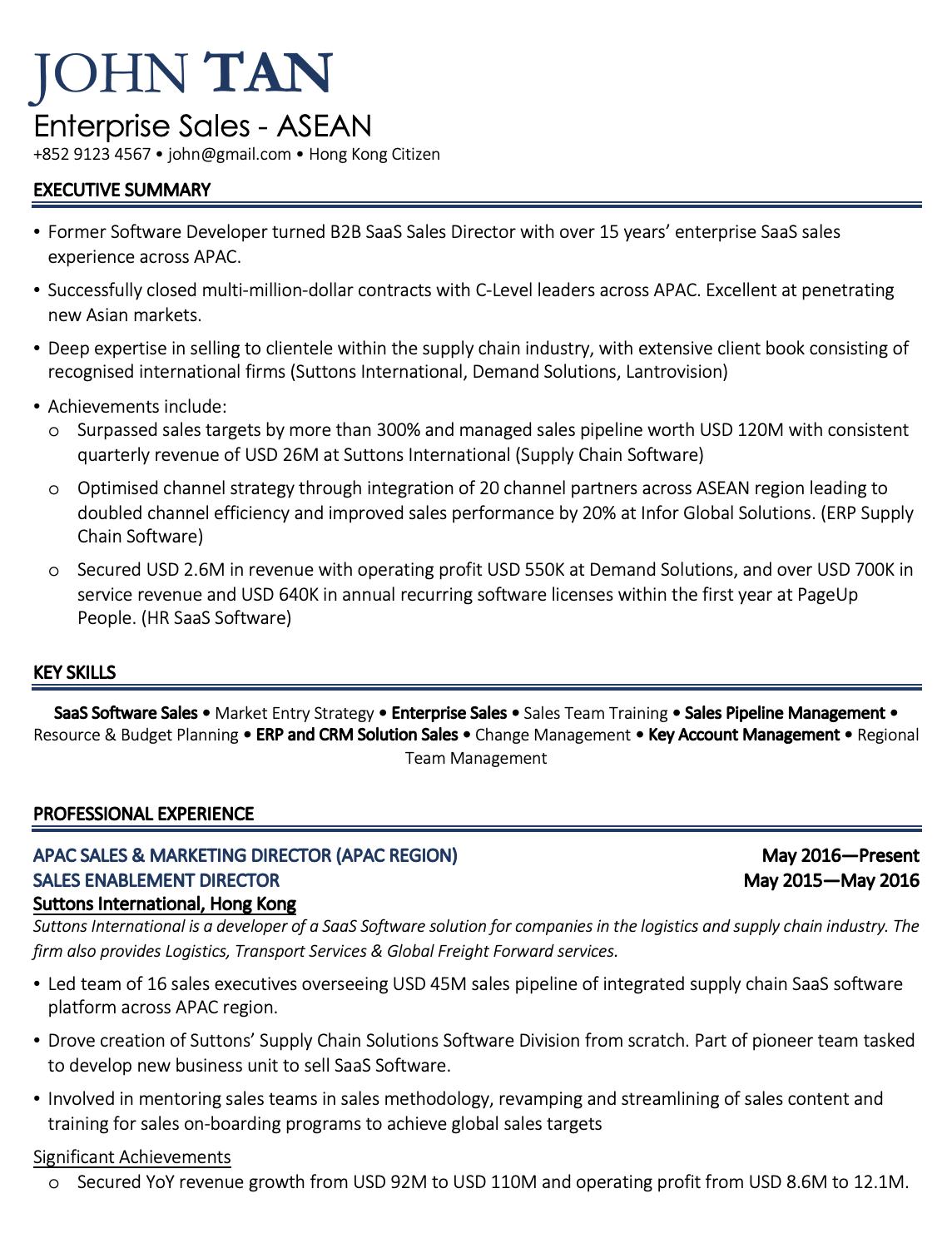 Channel Sales Sales Resume Examples Sales Resume Job Resume Samples