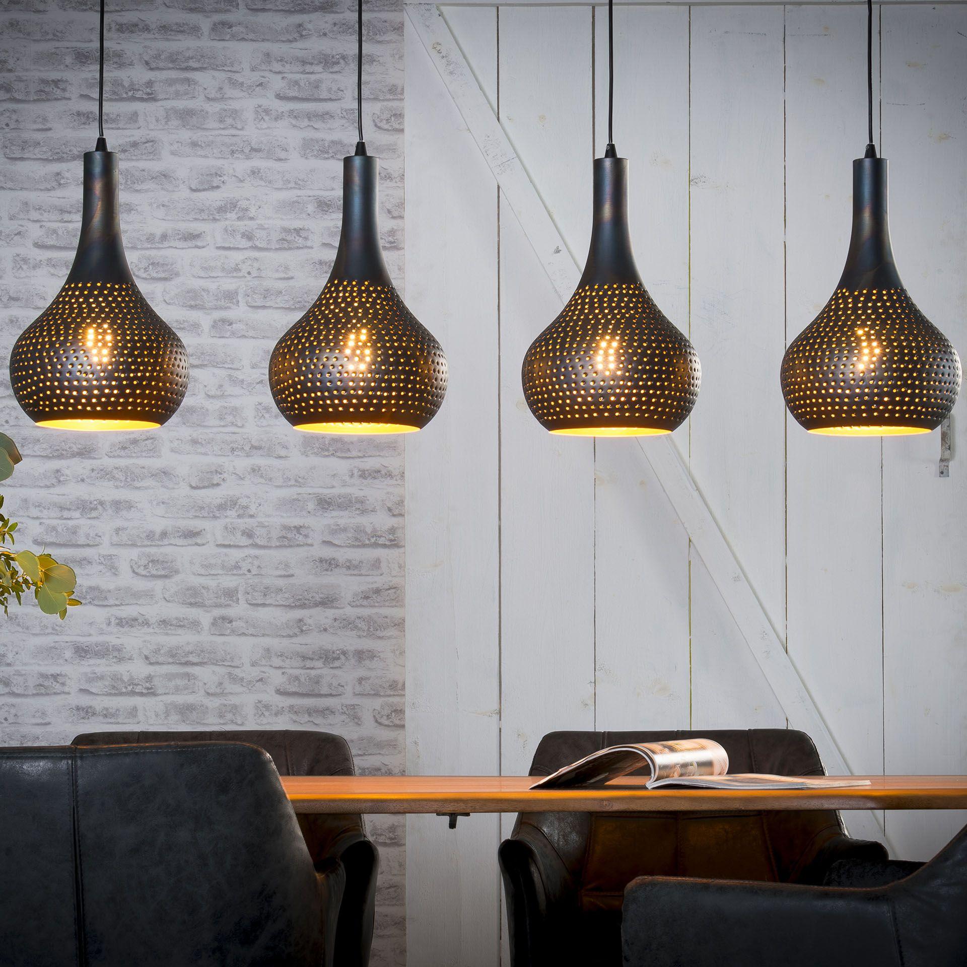 Suspension Infos Noir 4 Ajouré 130 Cm Métal Luminaire Lampes Java sQthrdCx
