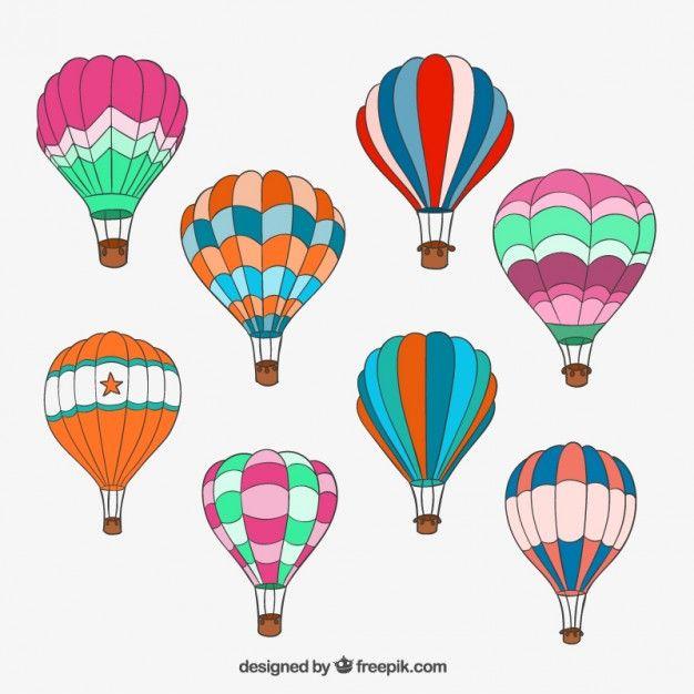 Desenhadas mão balões de ar quente | Pinterest | Globo aerostatico ...