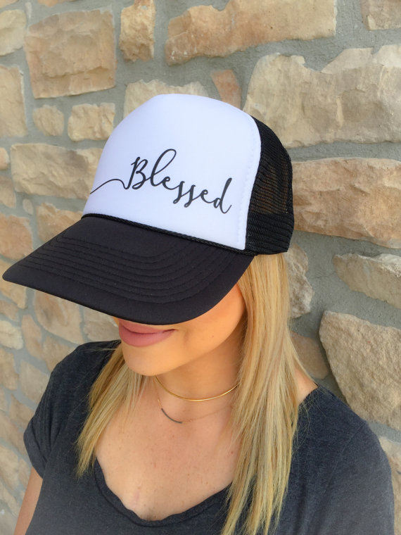 Blessed trucker hat. Printed on a black white ADULT size trucker hat. Back 838cbd6b5cd