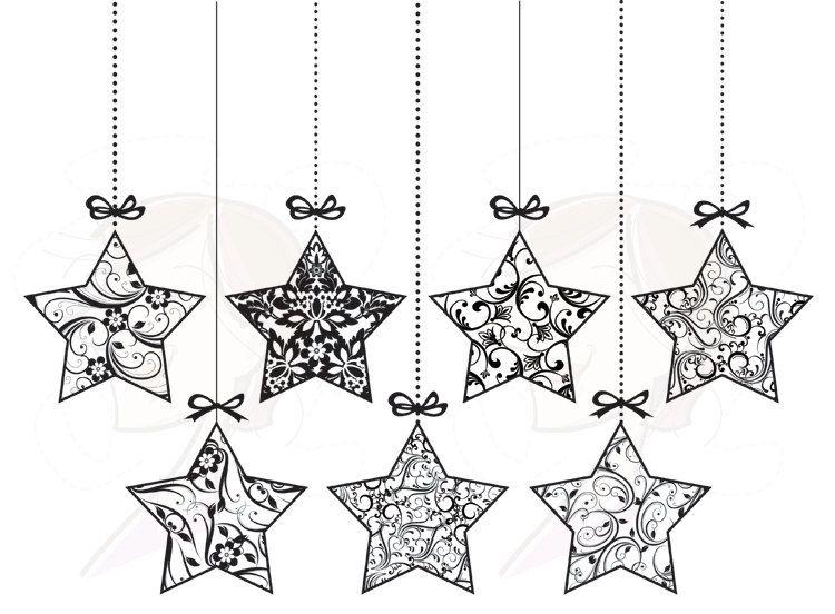 Christmas Ornaments Vintage Decorations Xmas Christmas Star Baubles Decor  Digital Clipart Clip Art Graphics Download Star Black 10410. , via Etsy. - Christmas Star Ornament Clip Art Baubles Retro Decorations Xmas