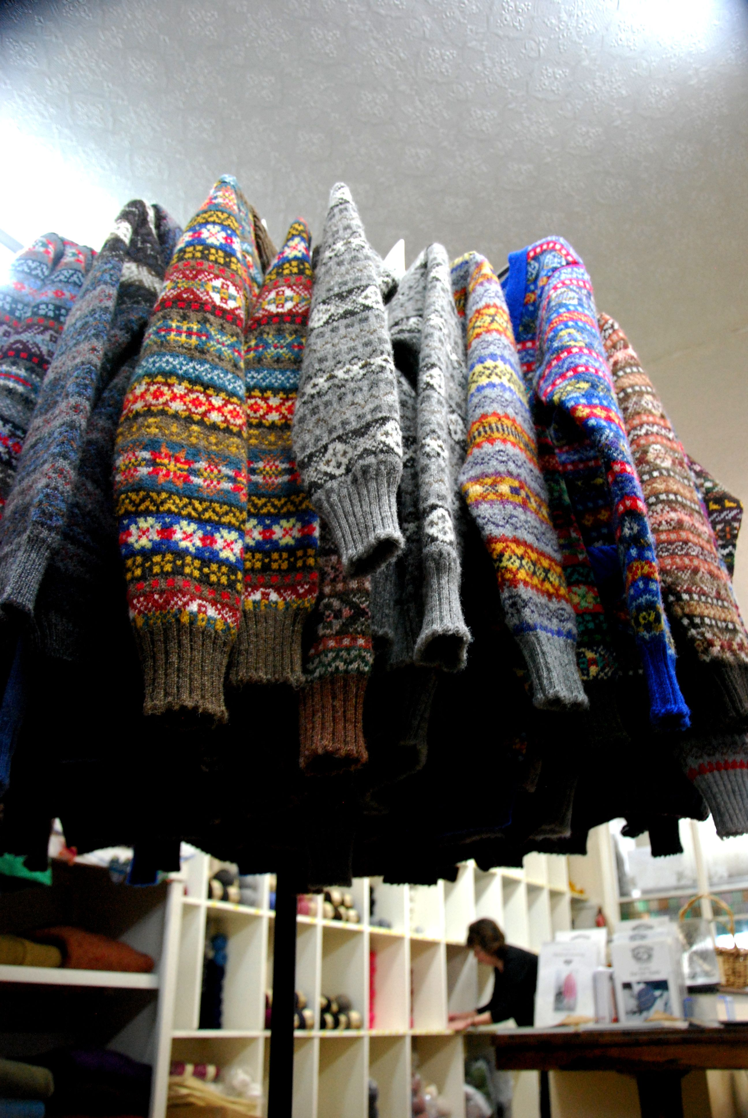 Fair Isle jumpers on sale in Jamiesons, Lerwick. Ideal for people ...