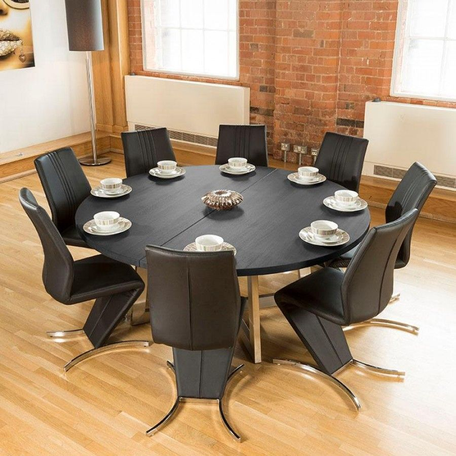 Surprising Large Round 1 8Mtr Black Oak Dining Table 8 High Back Z Short Links Chair Design For Home Short Linksinfo
