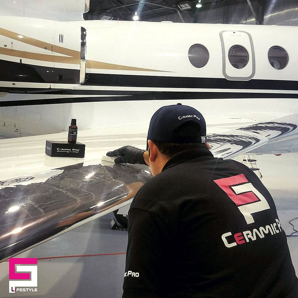 Applying Ceramic Pro on the aircraft. By mcardenas9