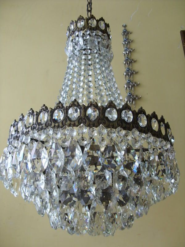 Antique French Basket Crystal Chandelier Lamp 1940s Crystal