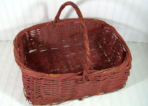 Oversized Grape Vine Woven Basket Vintage Dusty By