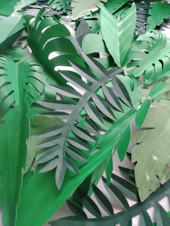 Tropical Leaves 30 Large Paper Jungle Safari Leaves DIY ...
