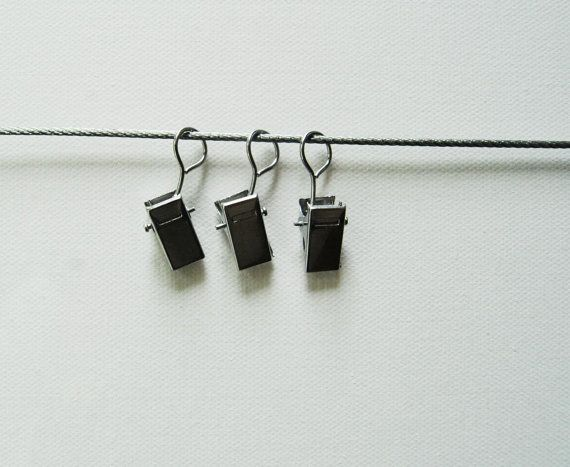 Hanging photo display Metal cord / 8 clips / pegs by NewCreatioNZ, $10.00