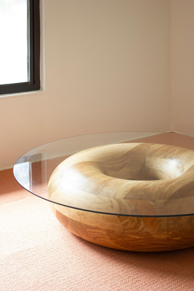 Caramel Donut Circular 48 Inch Oak And Tempered Glass Coffee Table