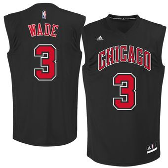buy online 8b6df e0e25 Men's Chicago Bulls Dwyane Wade adidas Black Fashion Replica ...