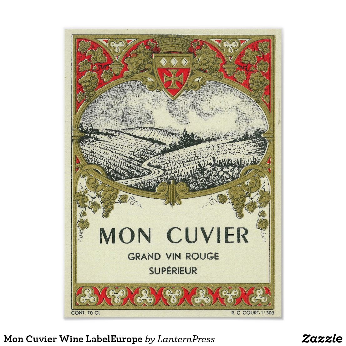 Mon Cuvier Wine Labeleurope Poster Zazzle Com In 2020 Vintage Wine Label Wine Wall Art Decor Wine Wall Art