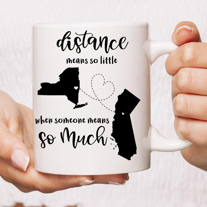 PERSONALIZED Long Distance Relationship Coffee Mug Moving