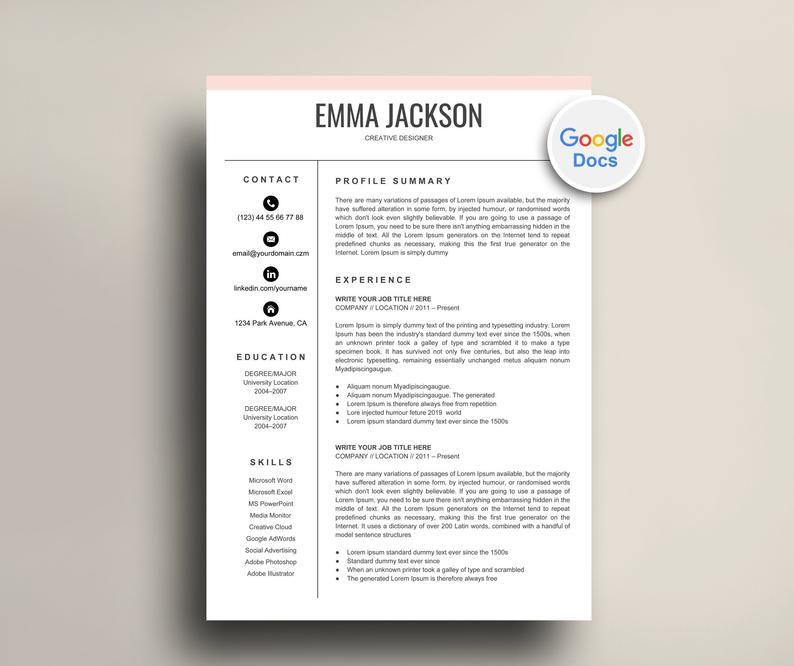 Google docs resume template instant download pink color