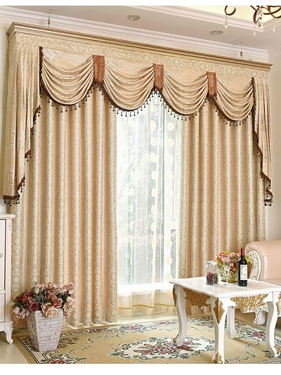 Baltic Jacquard Beige Floral Waterfall And Swag Valance And Sheers