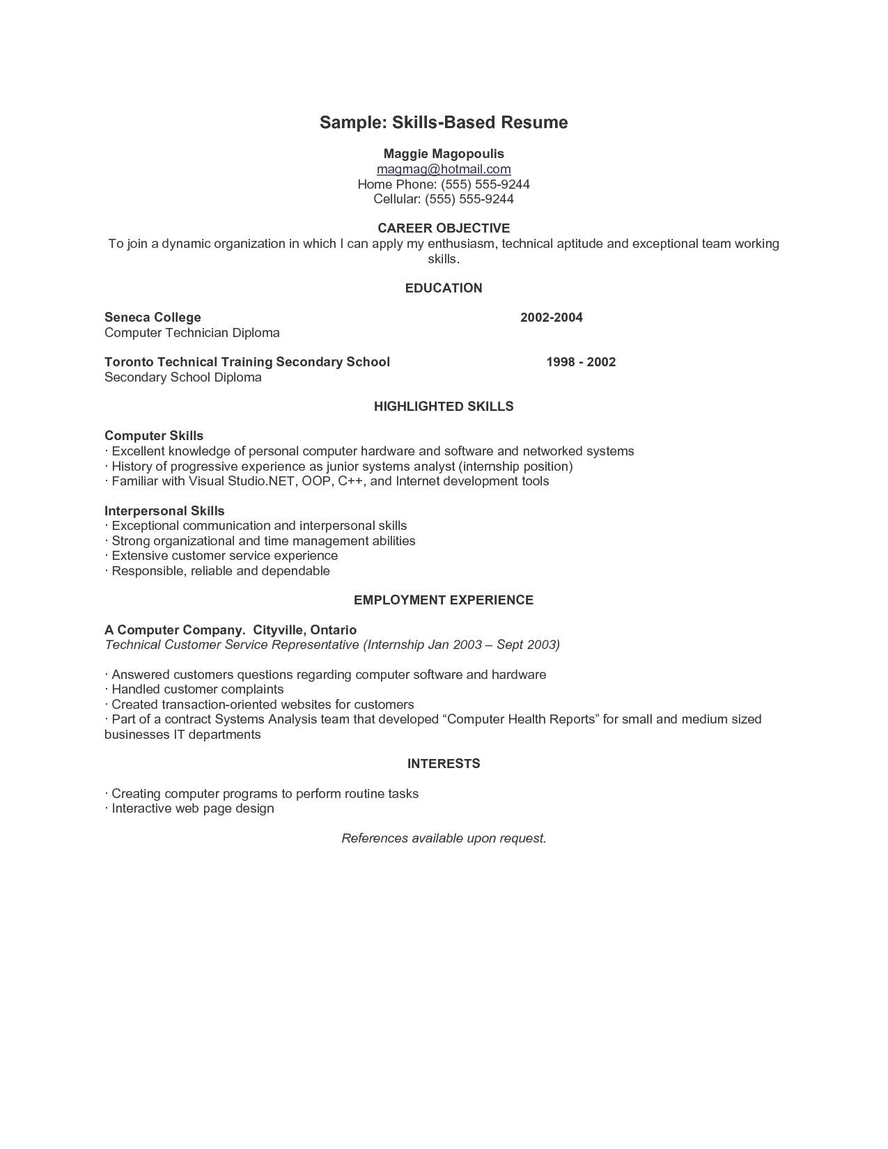 skills based resume sample resume