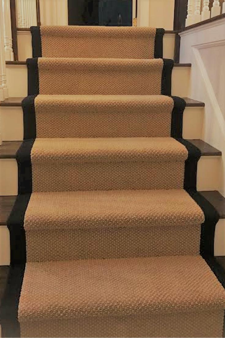 Carpet Stair Runner With Wide Black Border