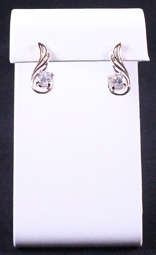 Vintage Gold Sterling Silver & CZ Earrings by Paststore by paststore on Etsy