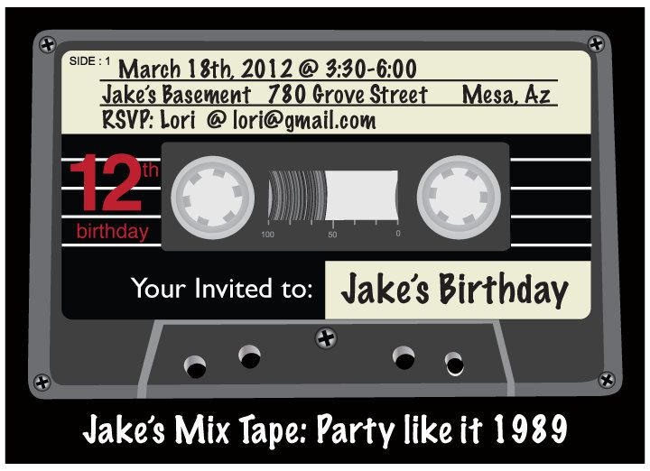 Printable Diy 80 S Cassette Tape Invitation By Wants And Wishes
