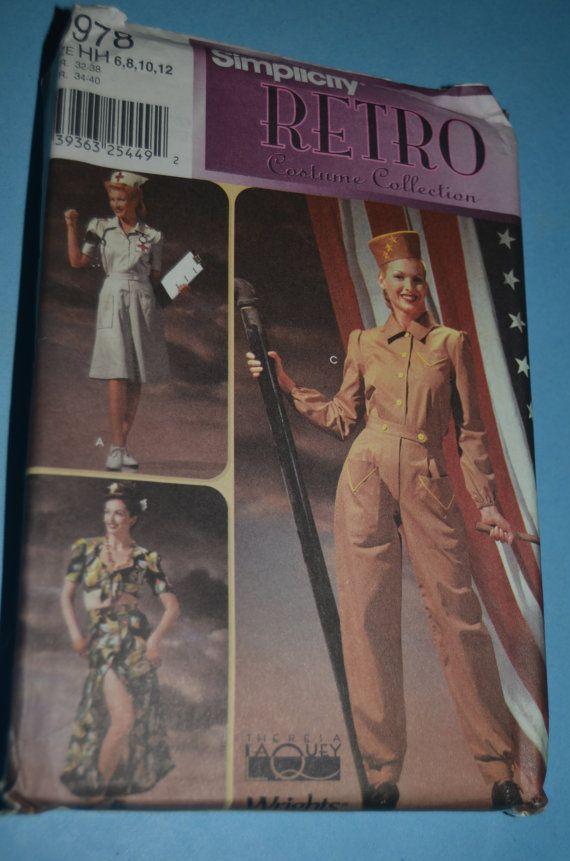 Einfachheit 9978 Retro WWII Ära Womens Kostüme Schnittmuster Blick A ...