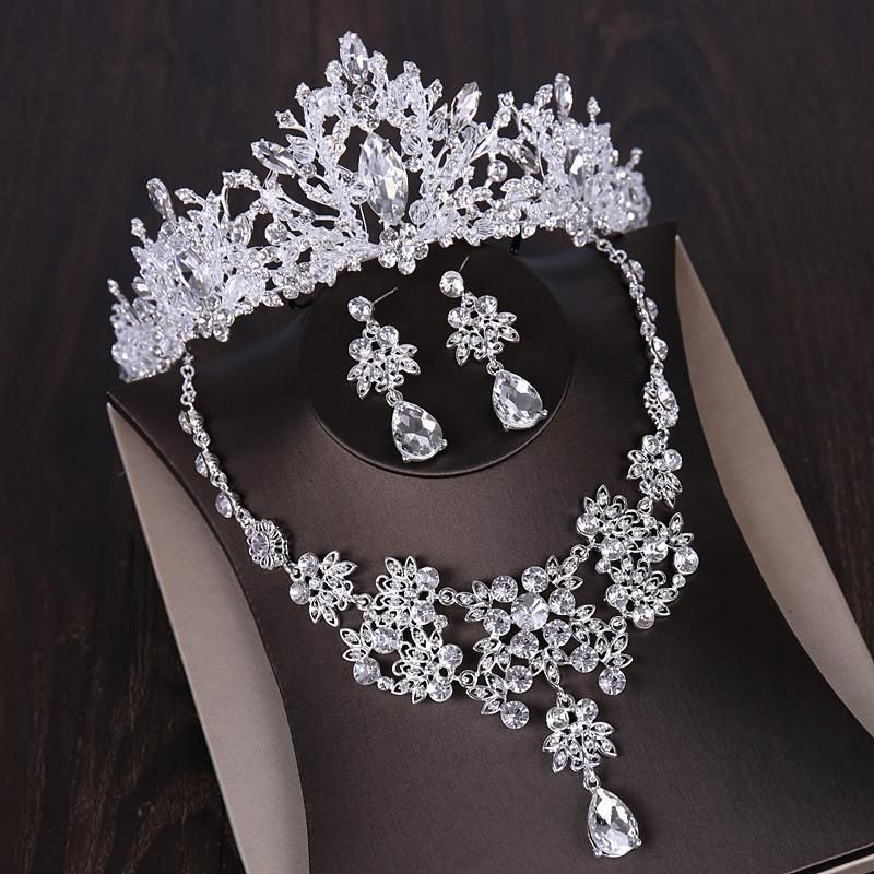 Luxury Silver Crystal Bridal Jewelry Sets African Beads Rhinestone Choker Necklace Earrings Crowns Set Wedding Dress Accessories Luxus Silber Kristall Brautschmuck Sets A...