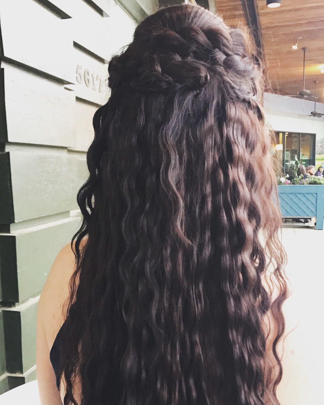 half up half down prom hairdo 💕 crimping isn't just a bad
