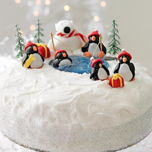 Christmas cake decoration penguins and a polar bear - Good Housekeeping & Christmas cake decoration: penguins and a polar bear | Christmas ...