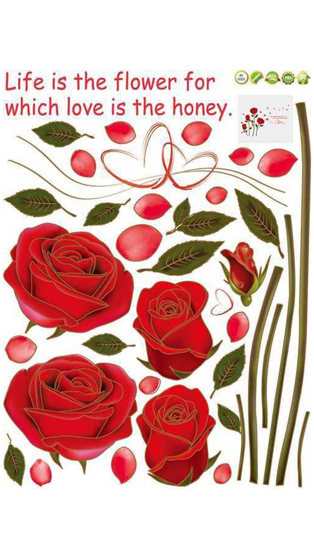 14a4e586c1 Buy WallTola Bedroom Romantic Rose Flowers Wall Sticker Online at Low  Prices in India - Paytm.com