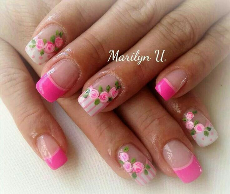 French Manicures Nail Acrylic Art Spring Nails Flowers Flower Manicure Ideas Bella