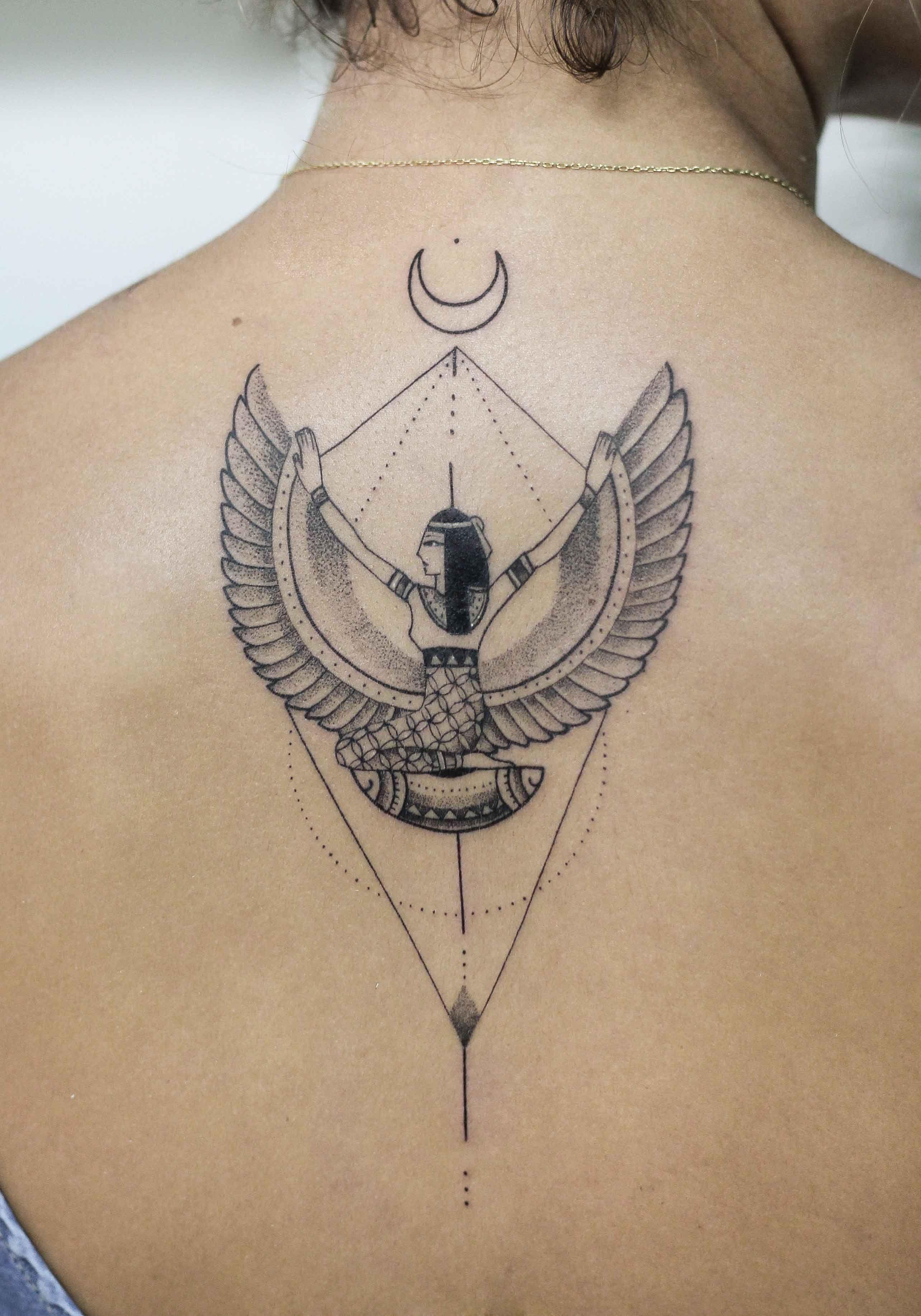 Goddess Spine Tattoo