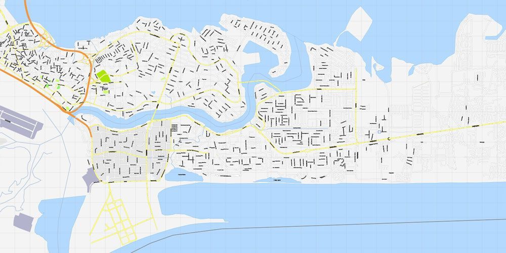 Lagos Nigeria printable exact vector map GView level 16 250