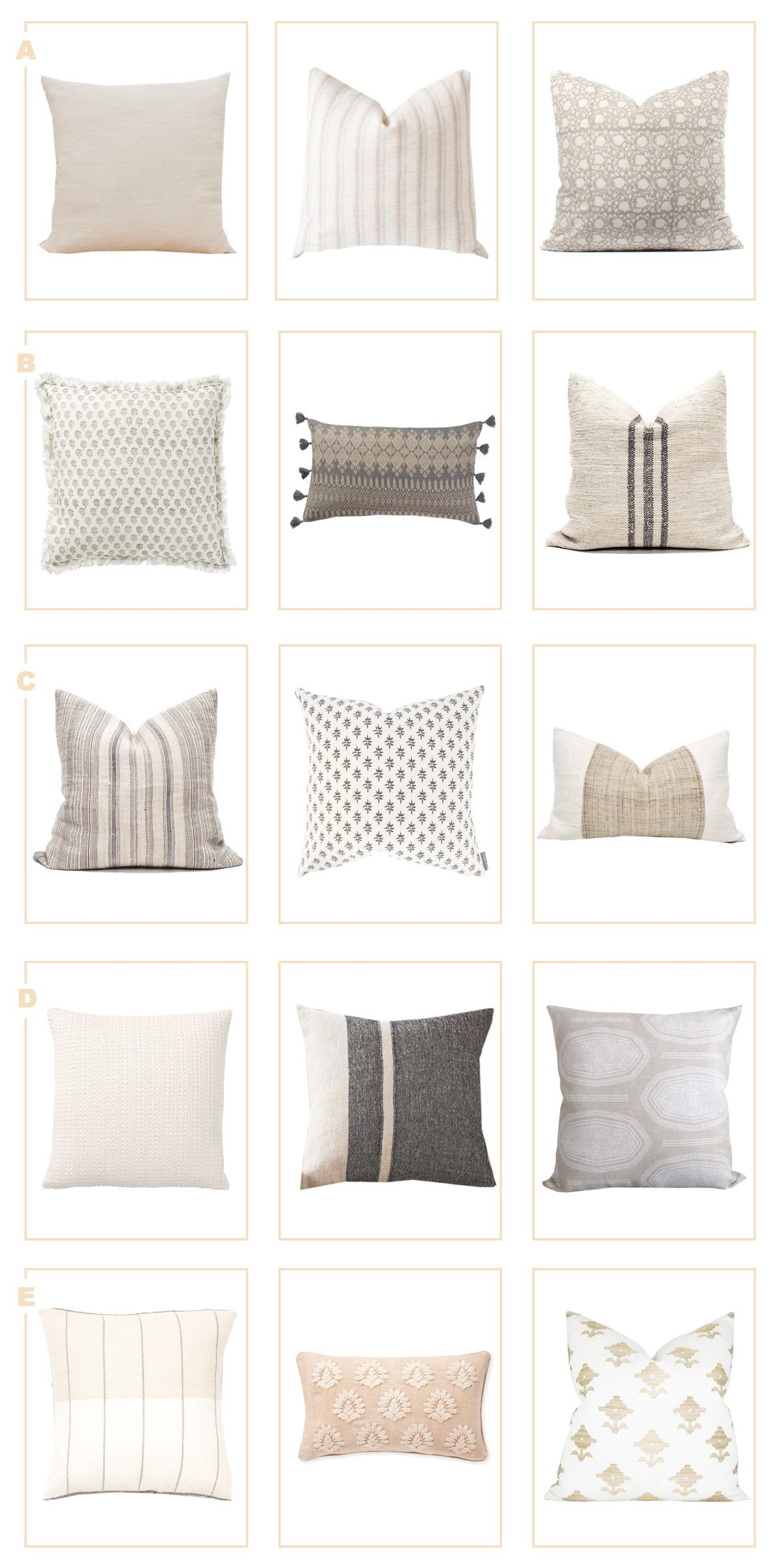 Neutral Pillow Combinations Harlowe James In 2020 Neutral Pillows Throw Pillows Living Room Living Room Pillows #pillows #for #living #room #sofa