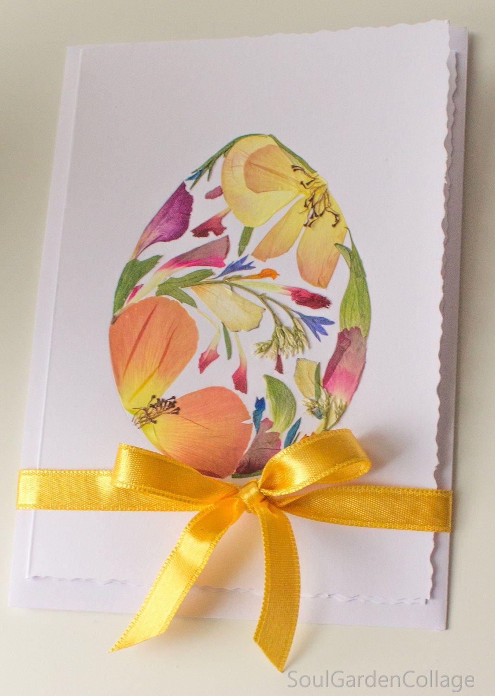 Pressed Flowers Easter Card Ooak Easter Greeting Card Easter Collage Card Handmade Easter Card Botanical Art Card Flower Art Card Easter Collage Easter Cards Handmade Easter Cards