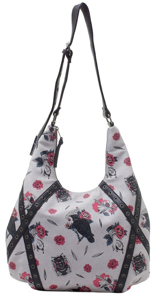 f84e5ab3668f SOURPUSS POE HOBO PURSE Our popular Hobo Bag gets a new look in light gray.  The front side features a Victorian Edgar Allan Poe-inspired pattern of  ravens