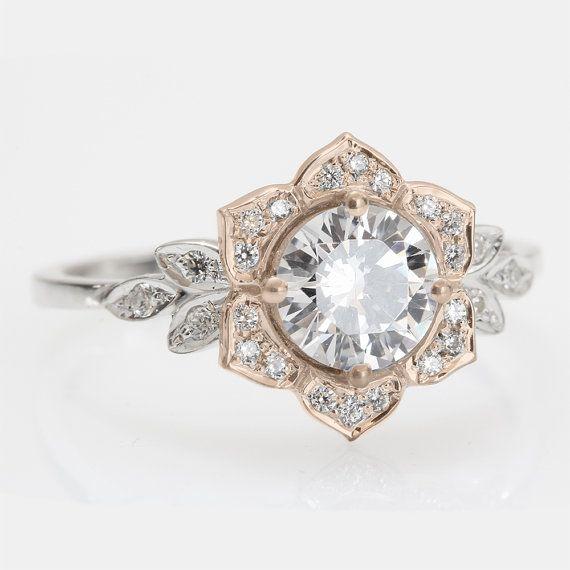 Two Tone Rose Gold And White Gold Flower Engagement Ring