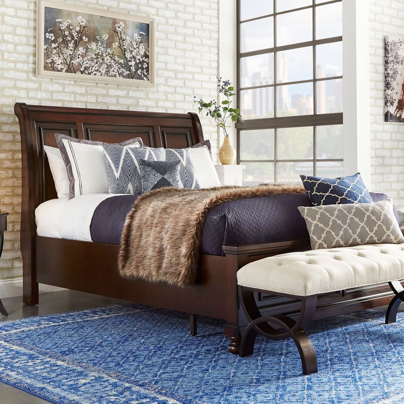 Elliot Distressed Warm Brown 2-drawer Wood Sleigh Bed by iNSPIRE Q Classic  (Elliot