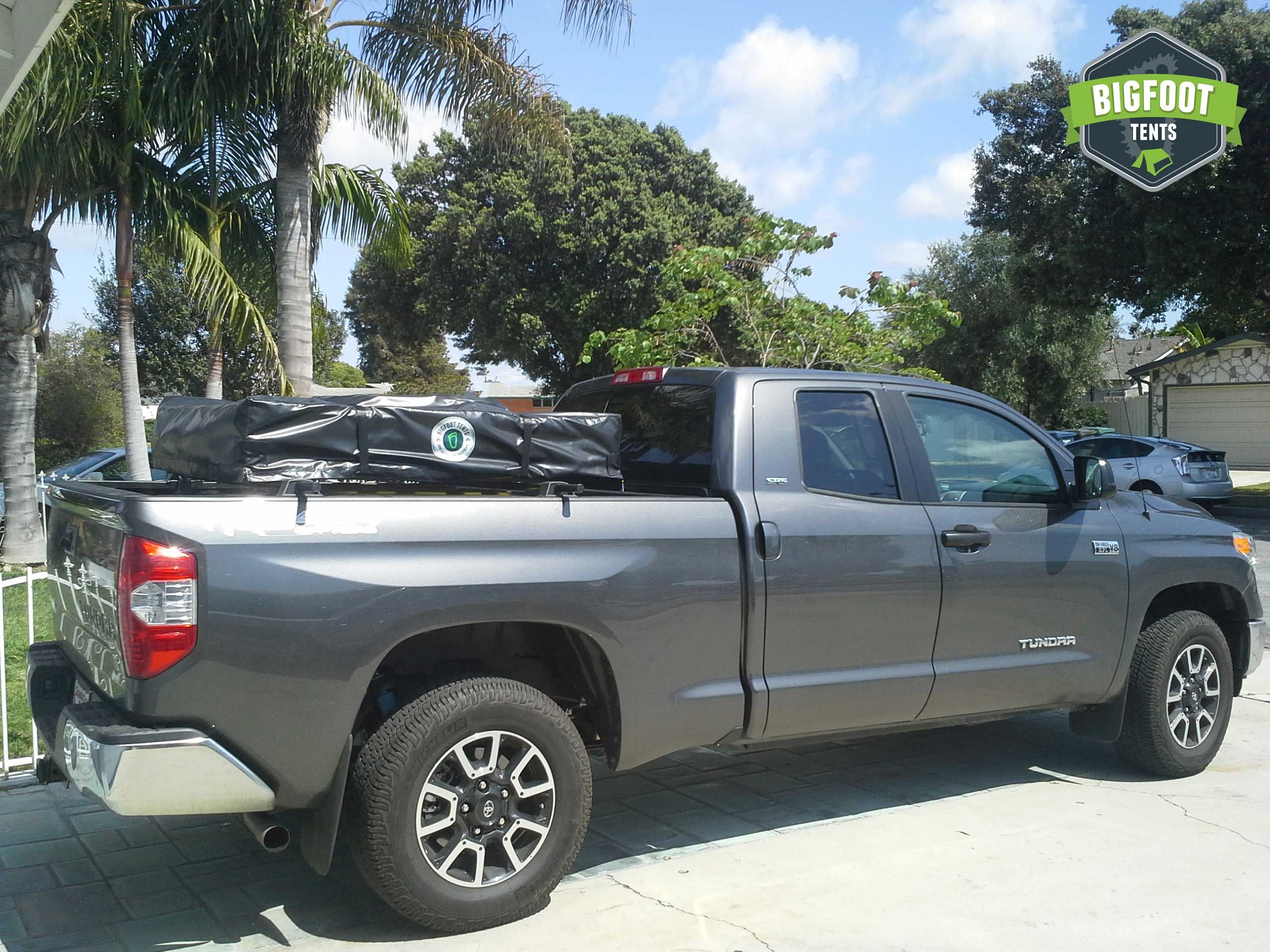 2015 Toyota Tundra with a Bigfoot Roof Top Tent mounted on