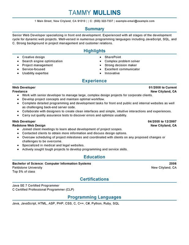 Web Developer Resume Sample resume Pinterest Web developer - housekeeping resume sample