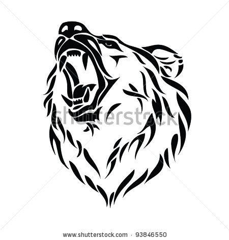 Bear roaring. Minimalistic head tattoo ideas