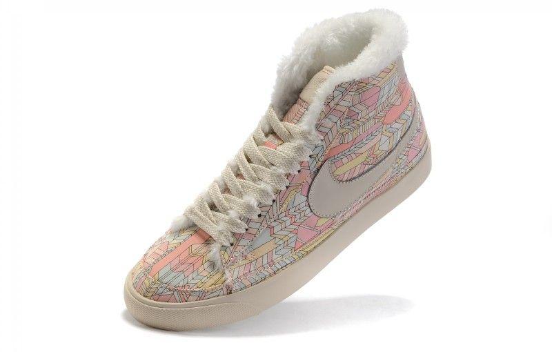 nike High Tops Women | Buy Nike Blazers Womens High Tops Fur Shoes Beige Pink