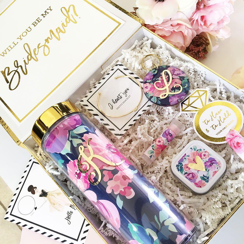 Floral Monogram Tumbler Maid Of Honour Gifts Monogram Tumbler Bridesmaid Proposal Box