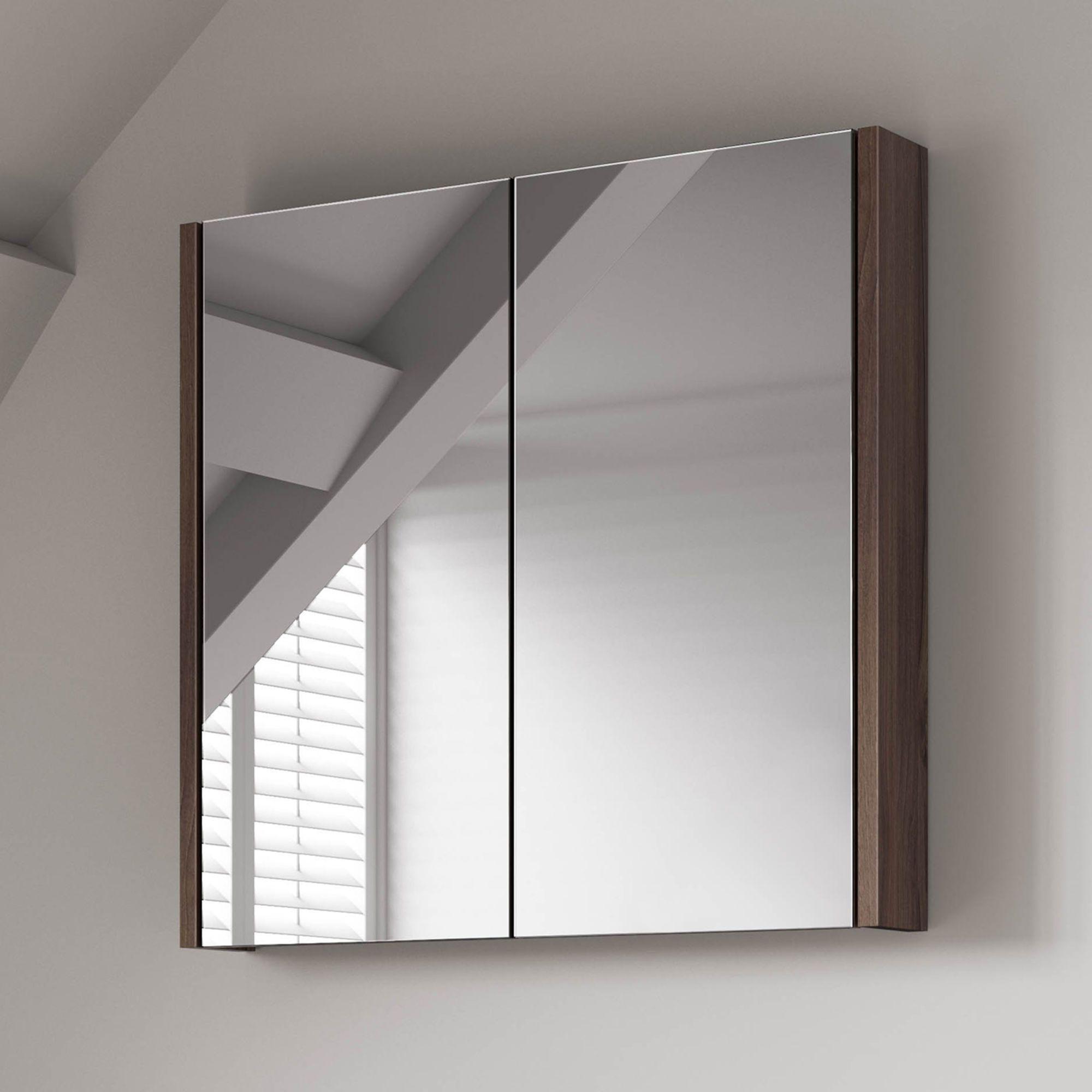 600mm Walnut Effect Double Door Mirror Cabinet Mirror Cabinets