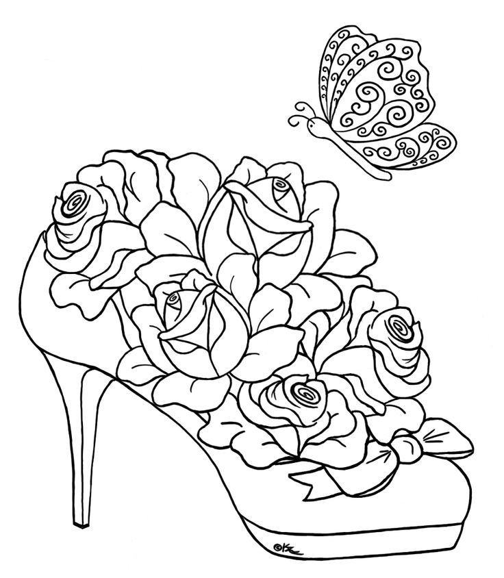 shoe rose Sketches Digis Pinterest Adult coloring, Embroidery - fresh coloring pages roses and hearts