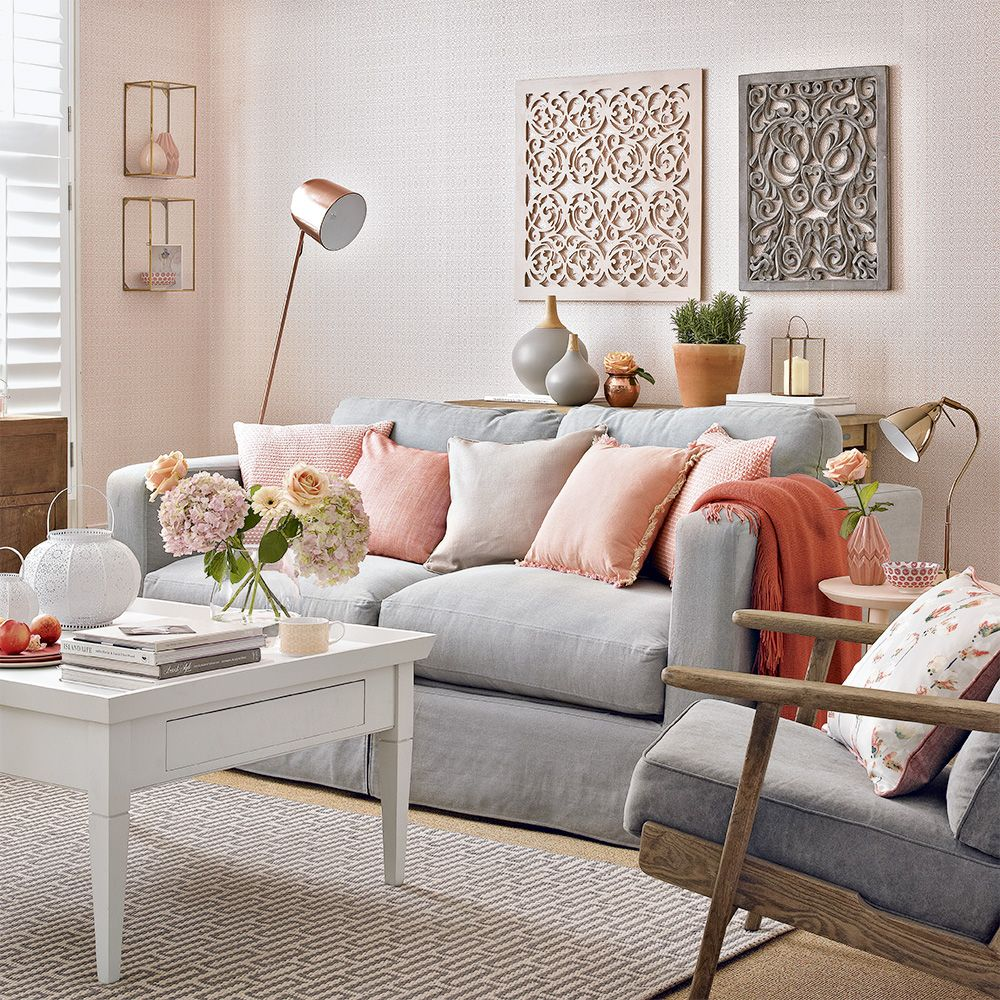 Simple Peach Beige Light Gray Couch Peach Living Rooms Living Room Grey Living Room Color Schemes Peach living room decor