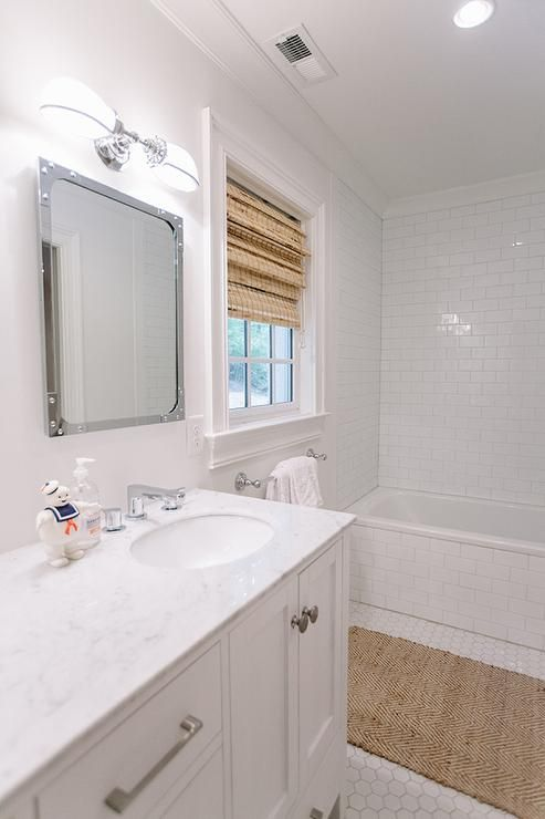 Kids Bathroom with Industrial Rivet Medicine Cabinet