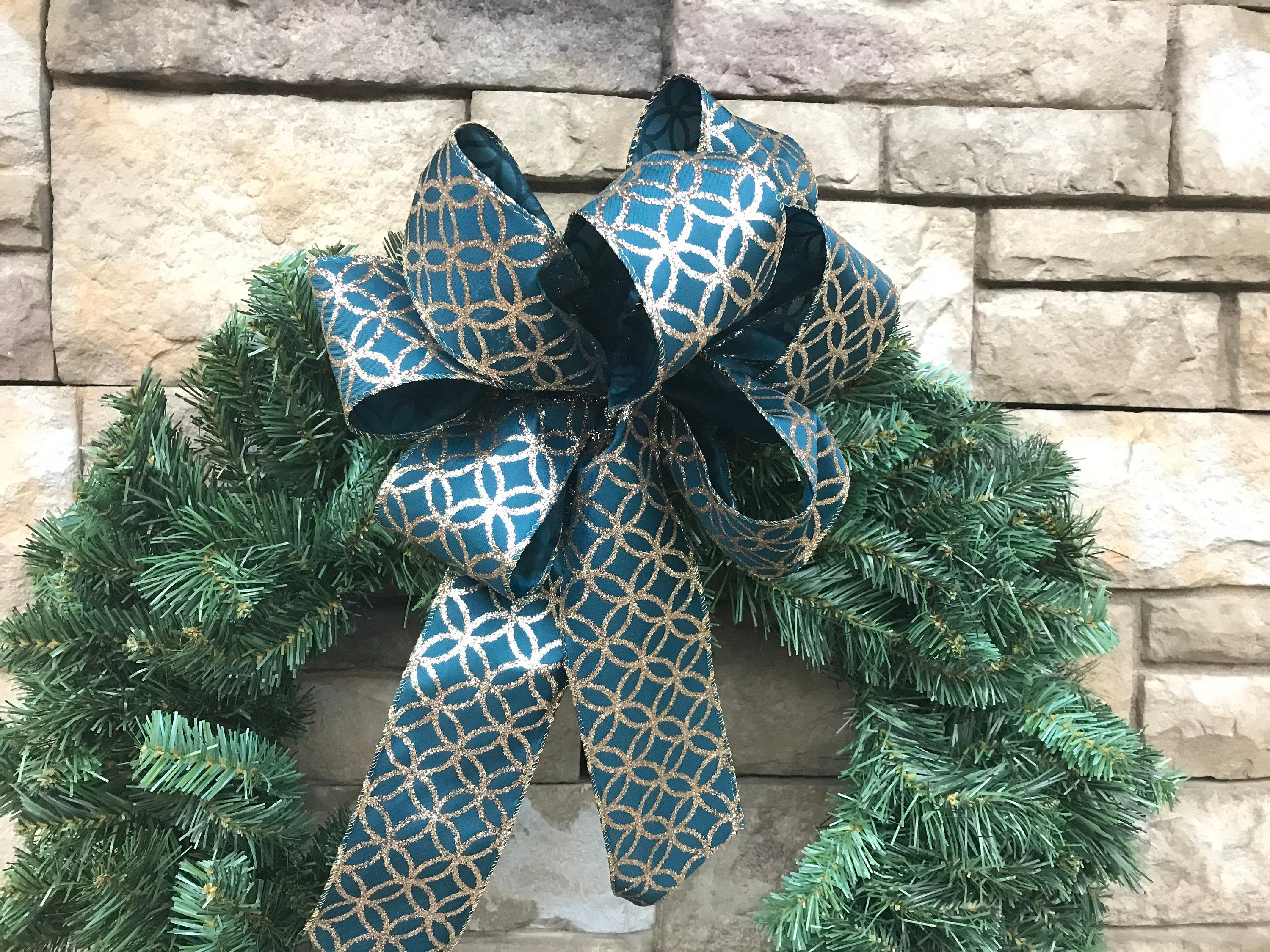 4 Large Wired Teal And Gold Christmas Bows Peacock Blue Holiday Bows Christmas Bows Teal Wreath Bows Peacock Blue And Gold Decor With Images Gold Christmas Bows Christmas Bows Teal And Gold