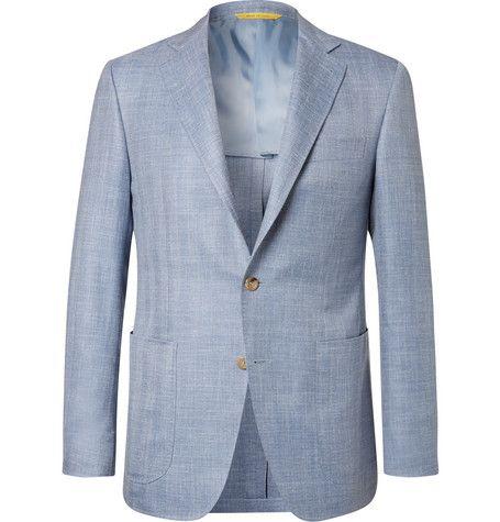 88800a1477c CANALI Light-Blue Kei Slim-Fit Herringbone Wool