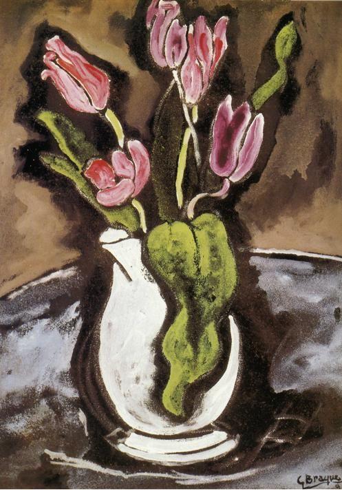 Georges Braque Paintings ,  Vase de tulipes, 1927
